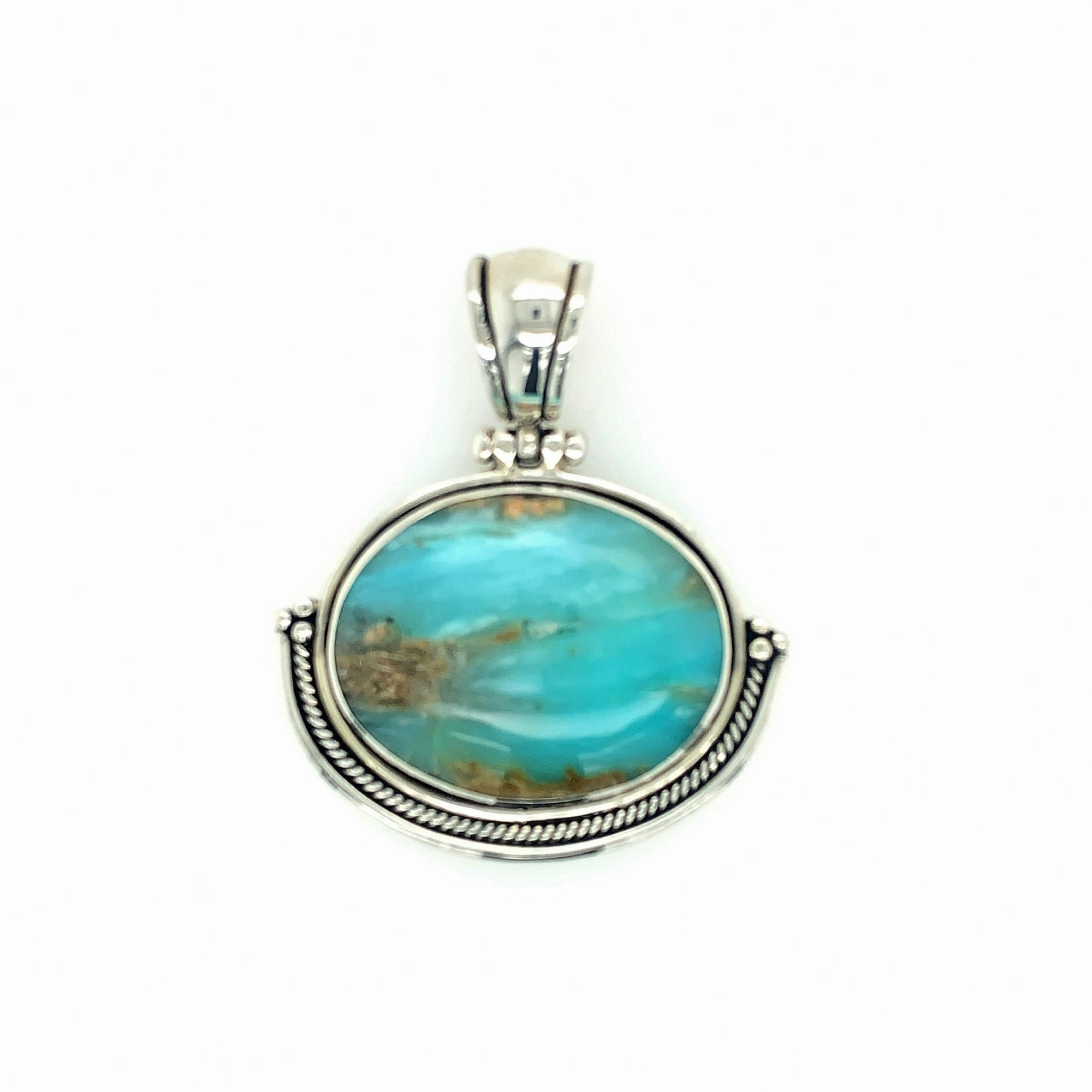 Sterling Silver & Andean Opal Oval Pendant with Rope Detail - Qinti - The Peruvian Shop