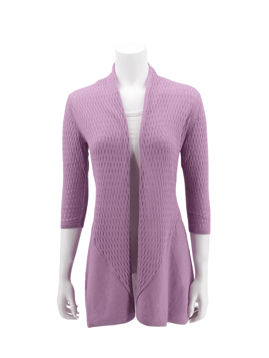 Pima Cotton Cardigan for Women - Open Collar - Knit in Organic Cotton