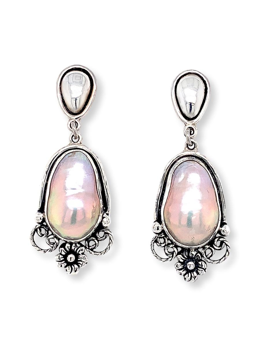 Pretty Pink Baroque Pearl Drop Earrings in Sterling Silver - Qinti - The Peruvian Shop