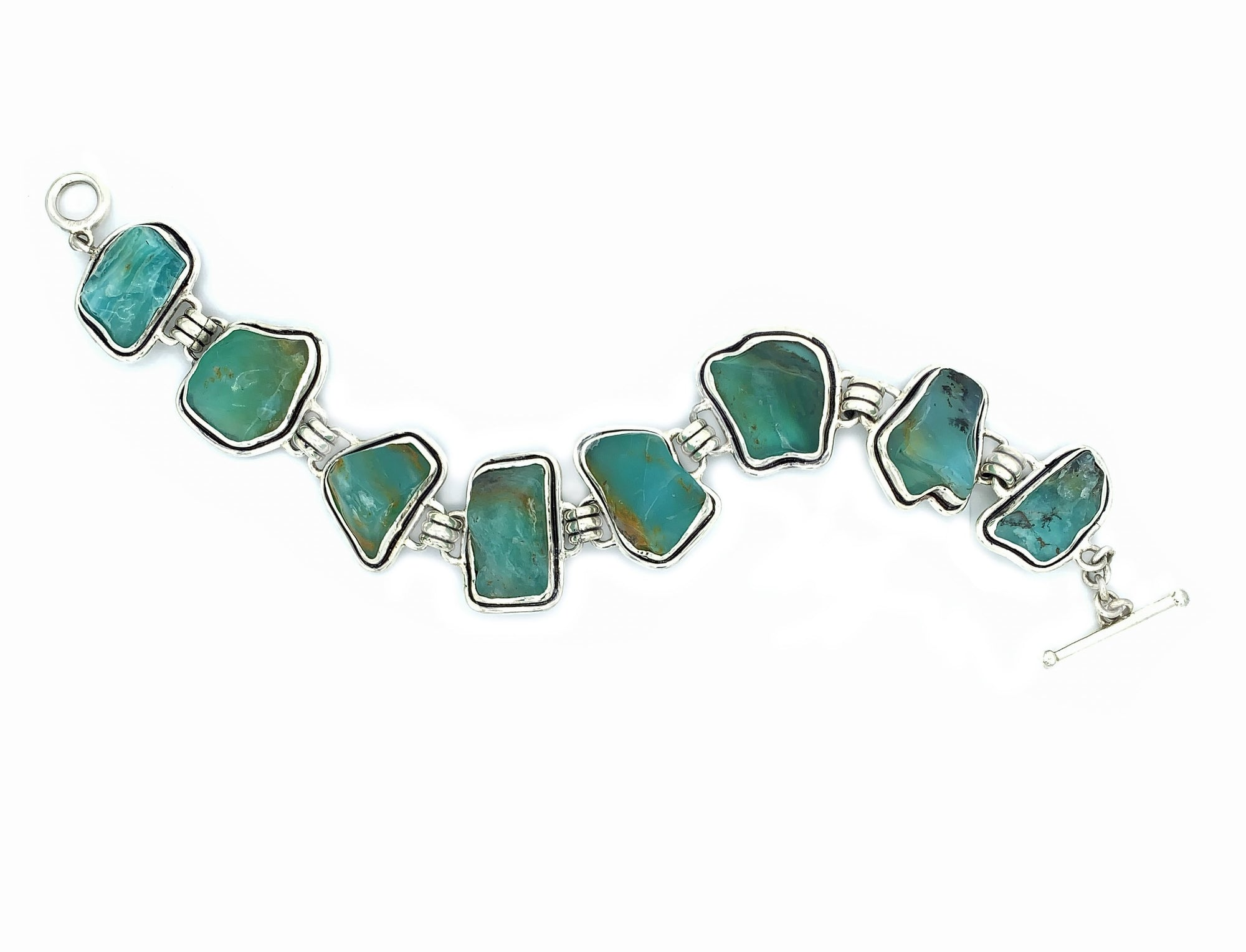 Sterling Silver Bracelet and Raw Andean Opal - Qinti - The Peruvian Shop