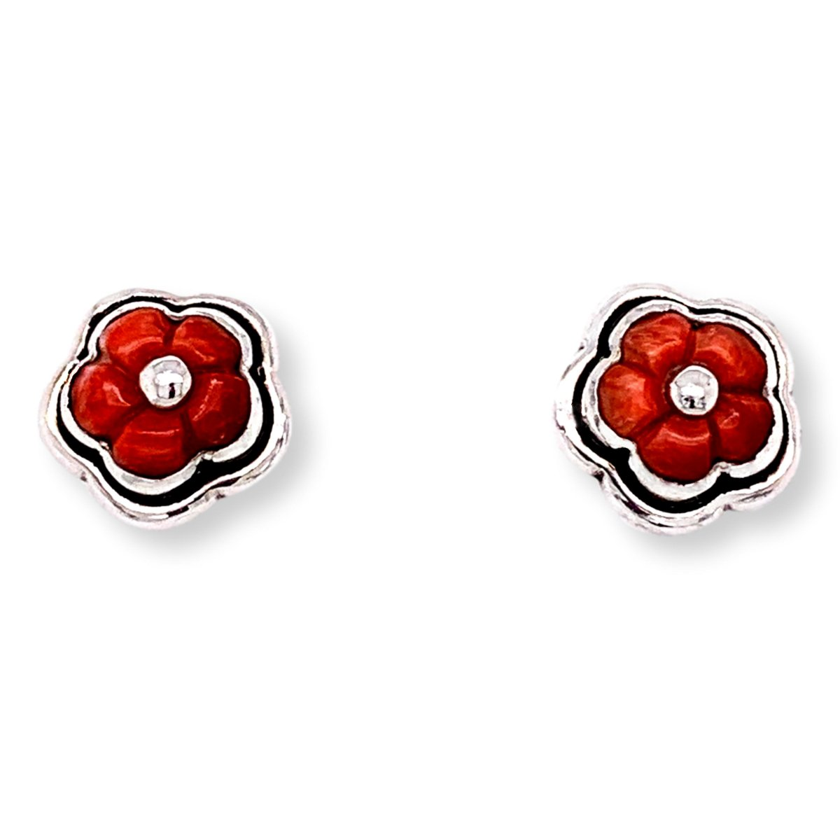 Spiny Oyster Flower Earrings in Sterling Silver - Red - Qinti - The Peruvian Shop
