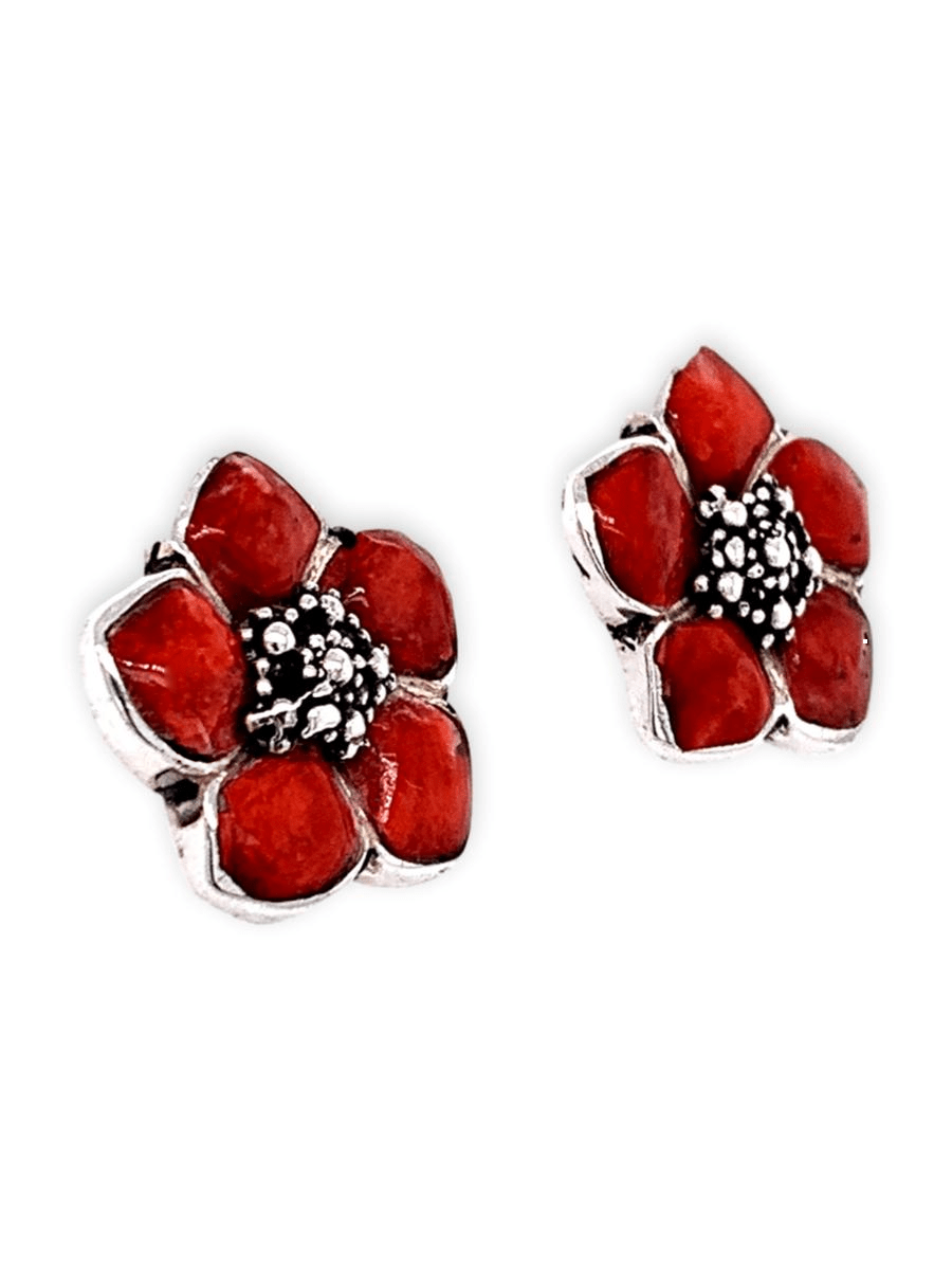 Sterling Silver and Spiny Oyster Earrings - Carved Flowers - Qinti - The Peruvian Shop