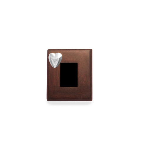 SILVER HEART Mahogany Frame with Sterling Silver Accent , Mahogany Frames - ARTISANS ON MAIN STREET, {Artisan_Silver_Gifts} - 1
