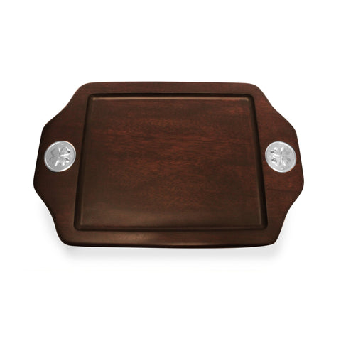 Serving Tray  with Sterling Silver Clover Accent , MAHOGANY WOOD TRAYS - ARTISANS ON MAIN STREET, {Artisan_Silver_Gifts} - 1