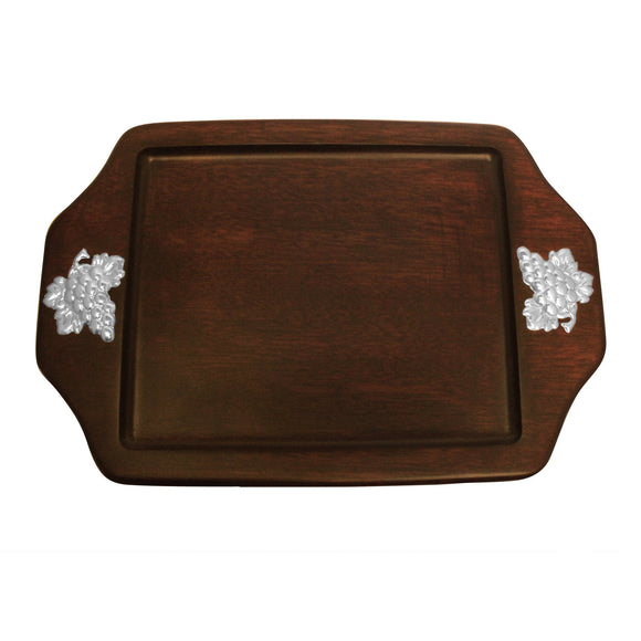Serving Tray with Sterling Silver Grapes Accent , MAHOGANY WOOD TRAYS - ARTISANS ON MAIN STREET, {Artisan_Silver_Gifts} - 1