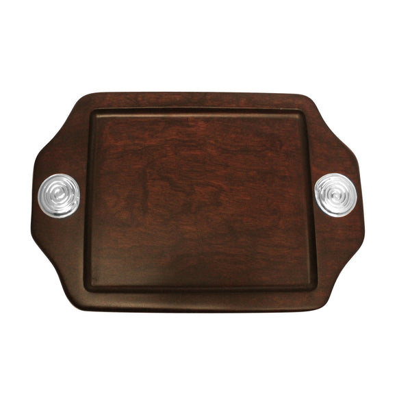 Serving Tray with Sterling Silver Spiral Accent , MAHOGANY WOOD TRAYS - ARTISANS ON MAIN STREET, {Artisan_Silver_Gifts} - 1