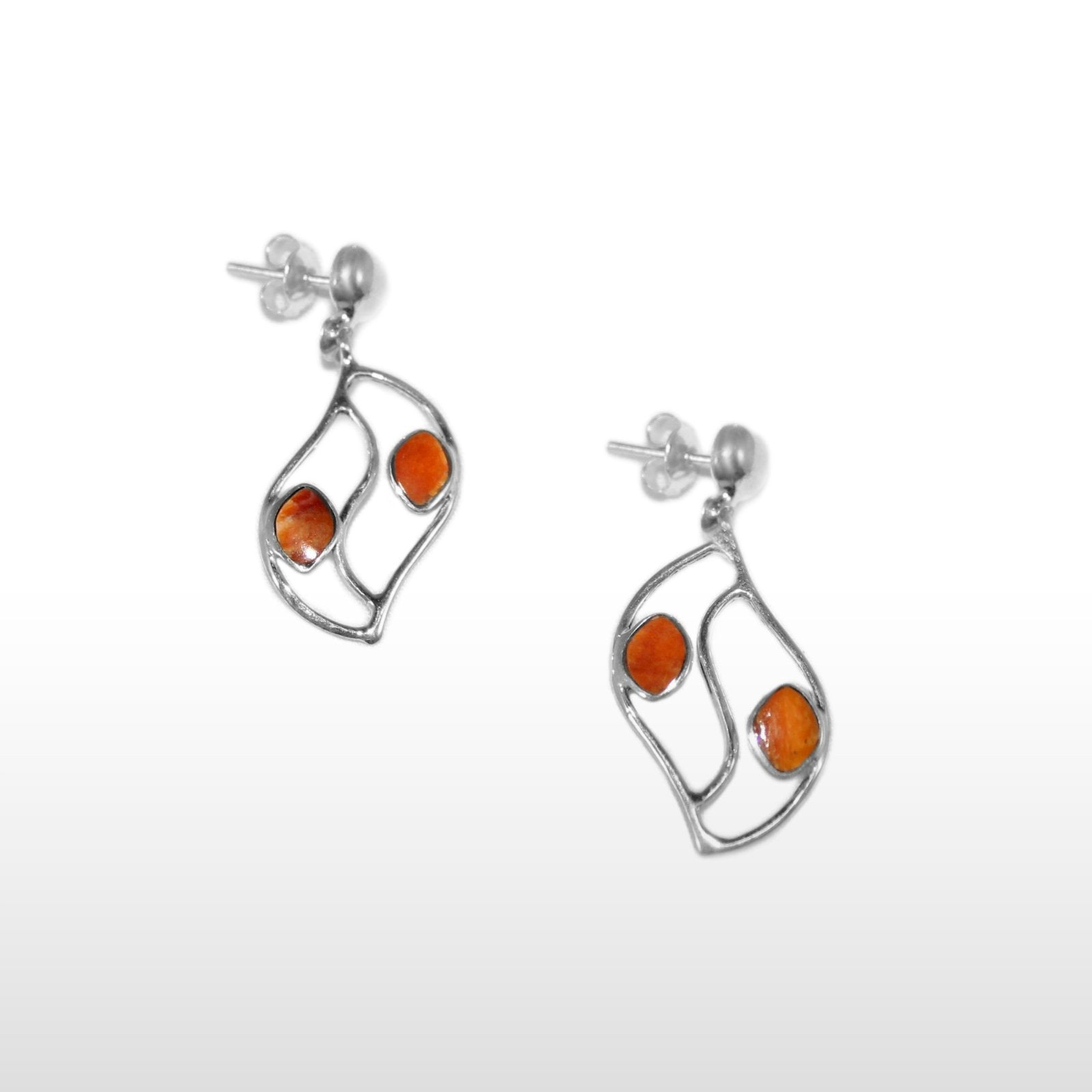Orange Spiny Oyster & Sterling Silver Leaves Pendant & Earrings Set - Qinti - The Peruvian Shop