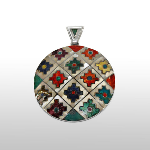 Large Chakanas Pendant Sterling Silver with Multi-stones , STERLING SILVER JEWELRY - Pendants - ARTISANS ON MAIN STREET, {Artisan_Silver_Gifts}