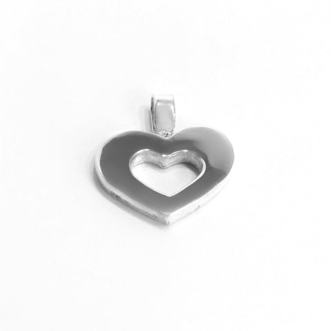 Sterling Silver Open Heart Pendant , Jewelry Pendants  - ARTISANS ON MAIN STREET, {Artisan_Silver_Gifts} - 1