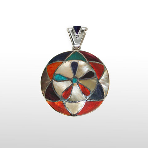 Round Flower Pendant Sterling Silver with Multi-stones , STERLING SILVER JEWELRY - Pendants - ARTISANS ON MAIN STREET, {Artisan_Silver_Gifts}