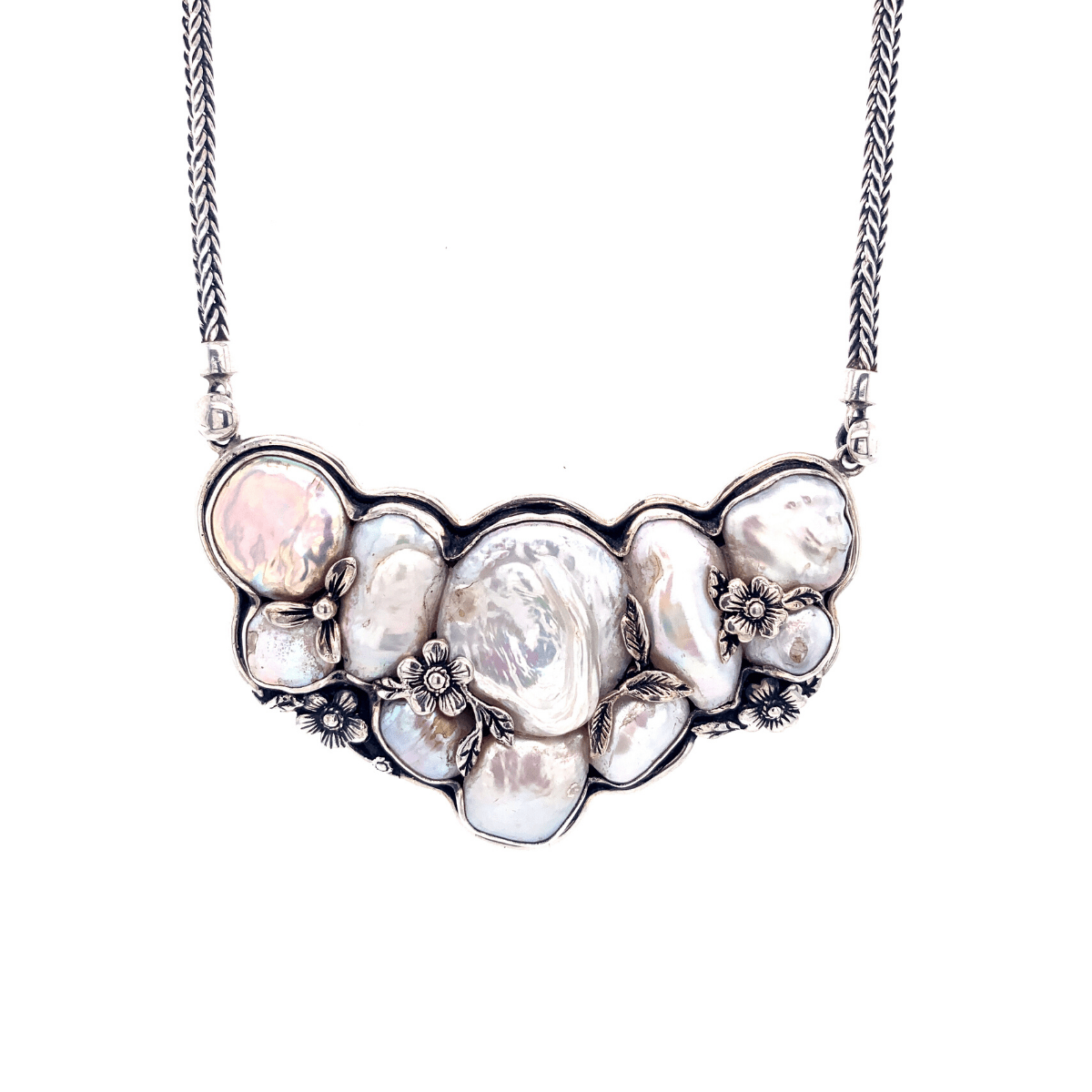 Baroque Freshwater Pearl & Sterling Silver Bib Necklace - Qinti - The Peruvian Shop