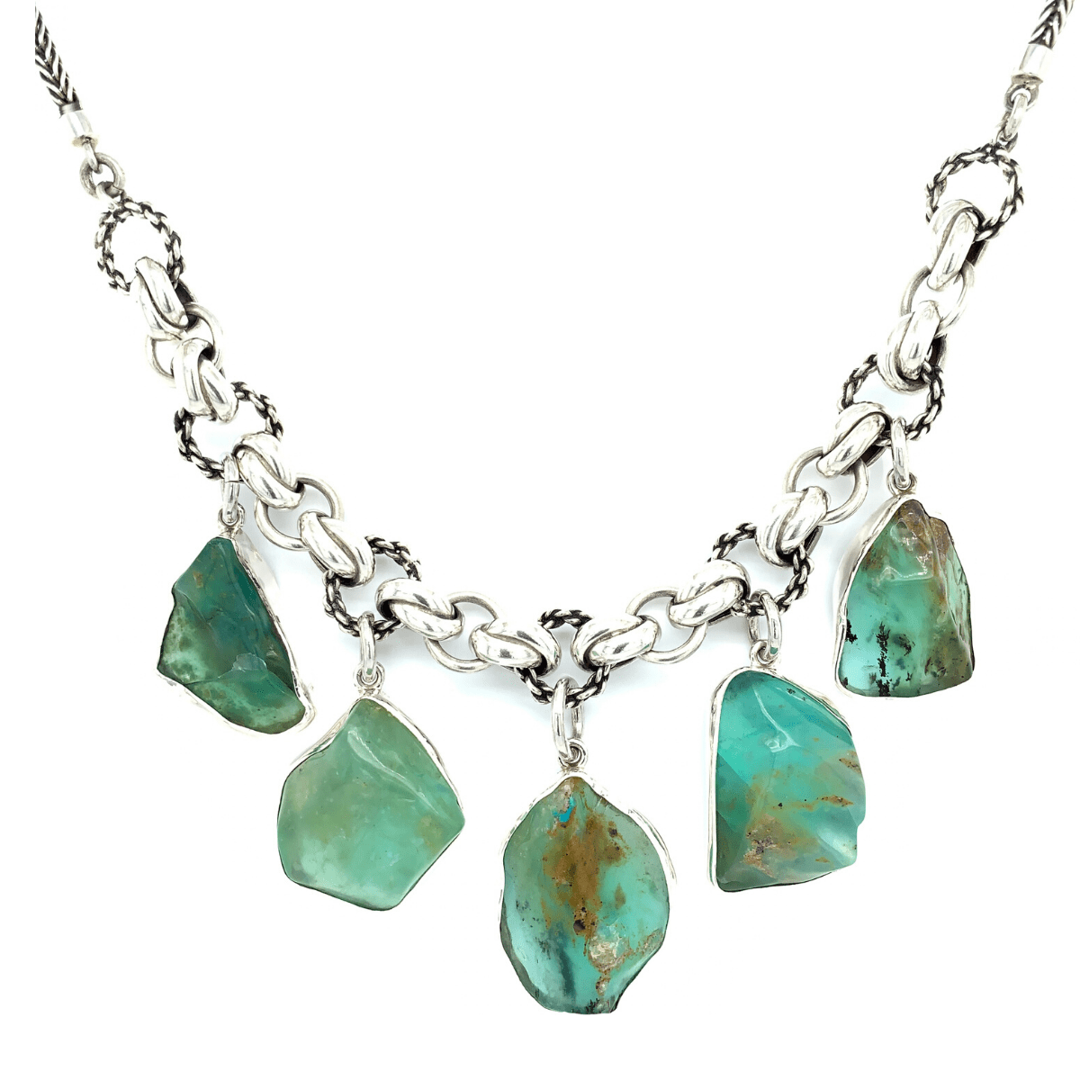 Rough Andean Opals & Sterling Silver Links Necklace - Qinti - The Peruvian Shop