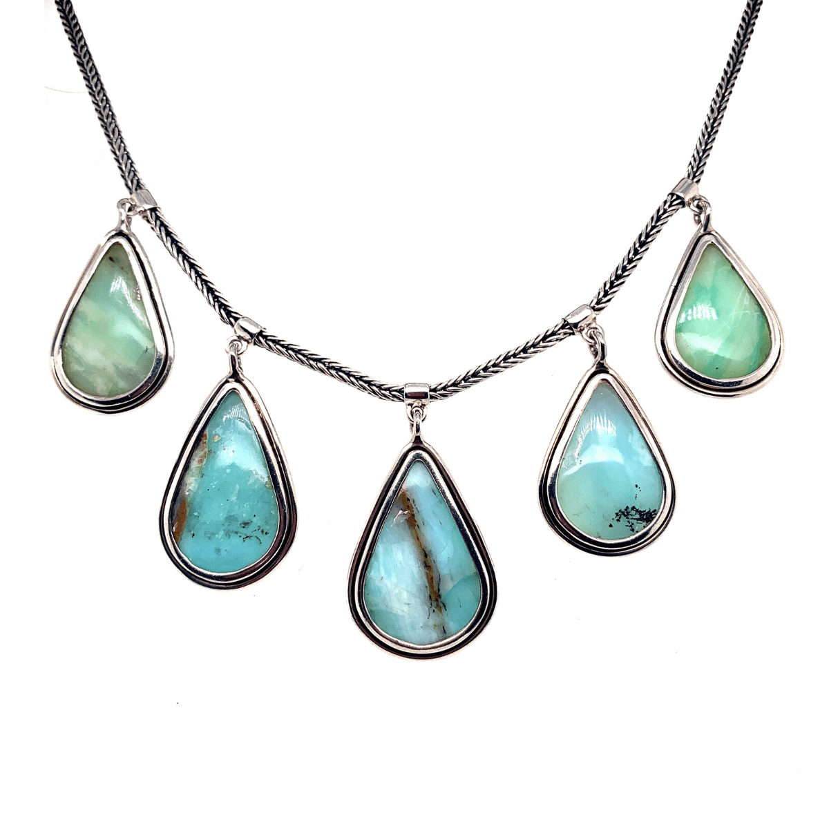 Andean Opal Teardrops & Sterling Silver Necklace - Qinti - The Peruvian Shop