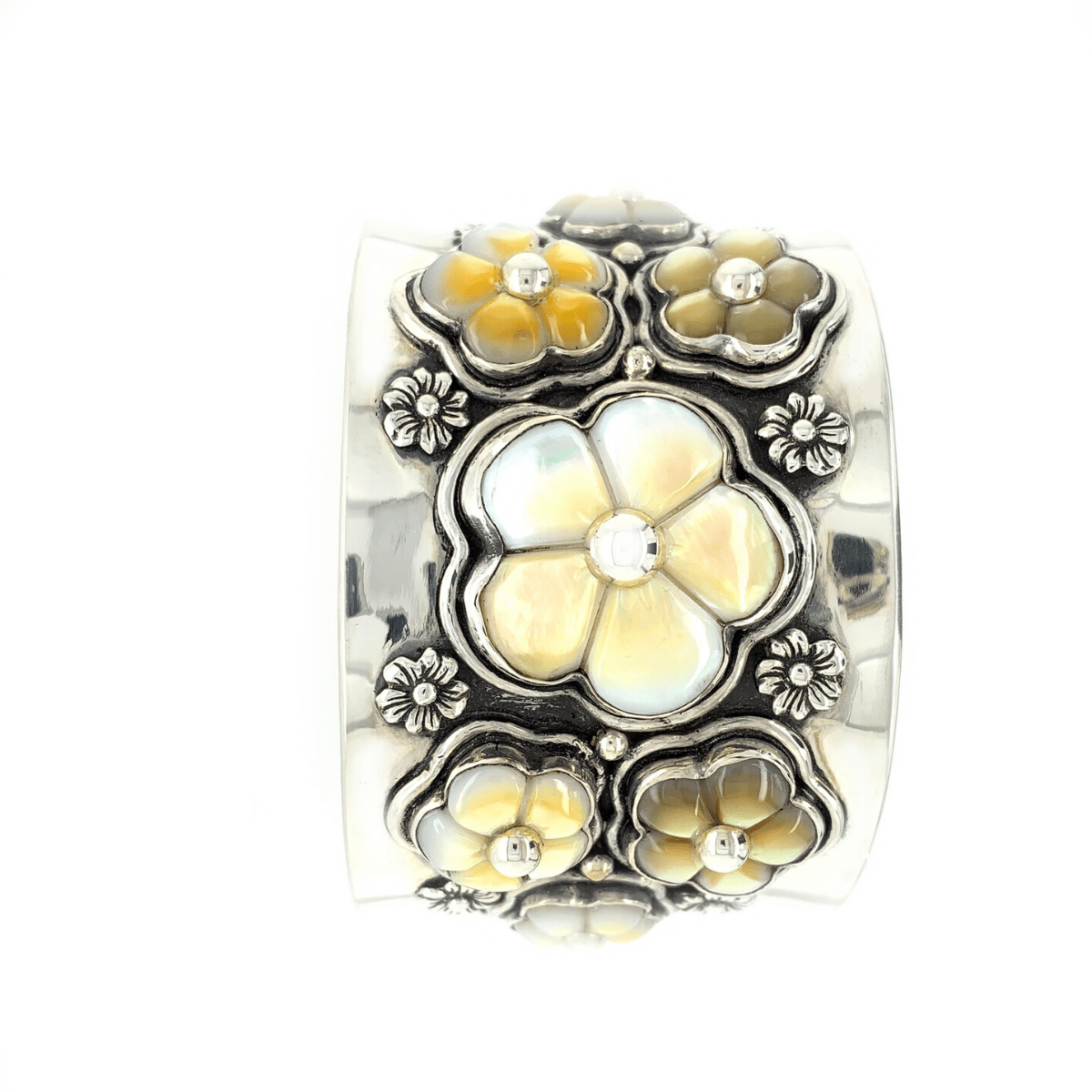 Carved Mother-of-Pearl Flowers & Sterling Silver Cuff - Qinti - The Peruvian Shop