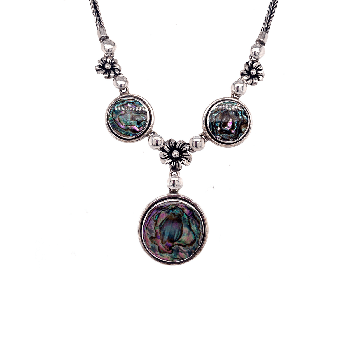 Abalone Shell Disks & Flowers Sterling Silver Necklace - Qinti - The Peruvian Shop