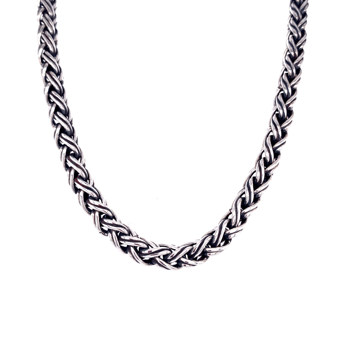 Double Braided Large Sterling Silver Necklace - Qinti - The Peruvian Shop