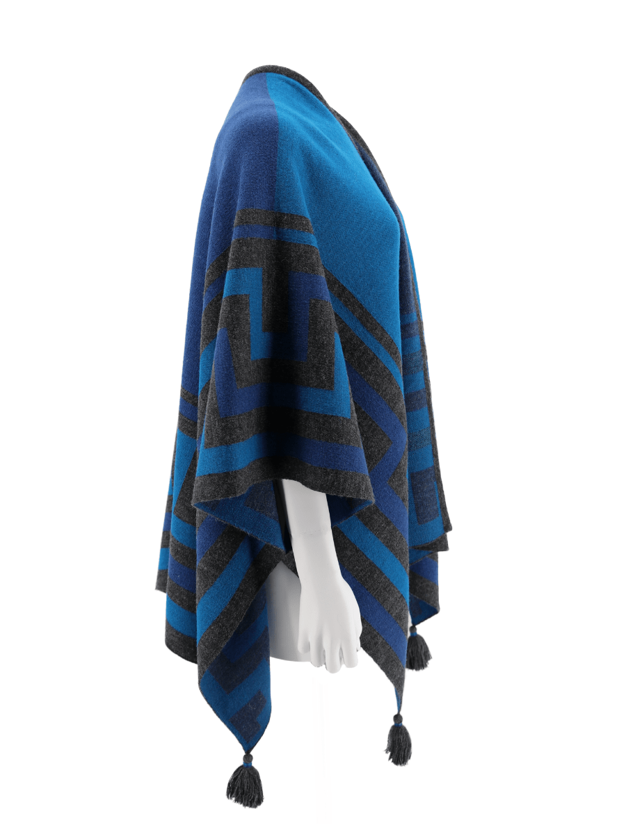 Baby Alpaca Knit Caminos Ruana Poncho with Tassels - Blue Teal - Qinti - The Peruvian Shop
