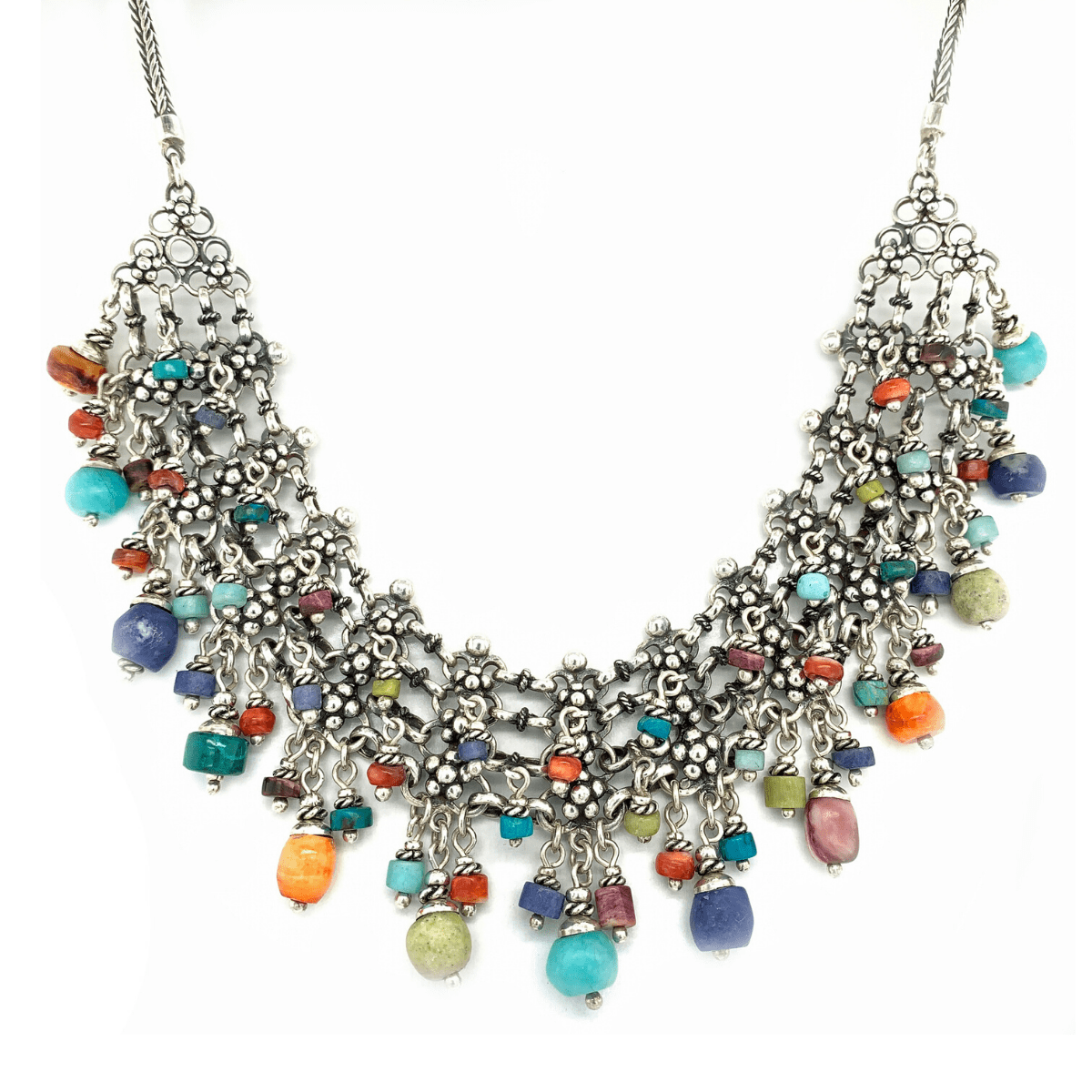 Multi-Colored Beads Cascade & Burnished Sterling Silver Necklace - Qinti - The Peruvian Shop