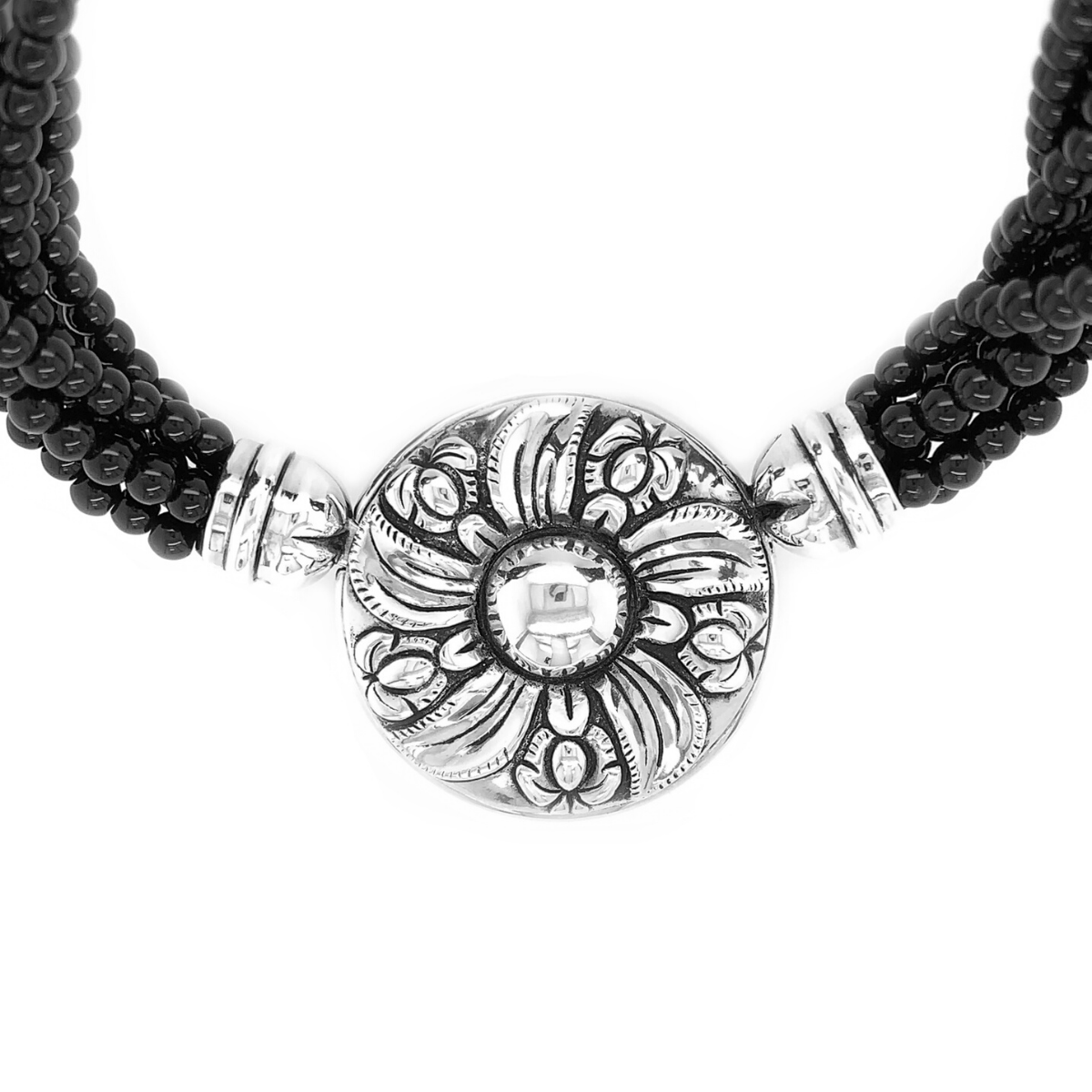 Black Onyx Strands & Sterling Silver Colonial Flower Necklace - Qinti - The Peruvian Shop