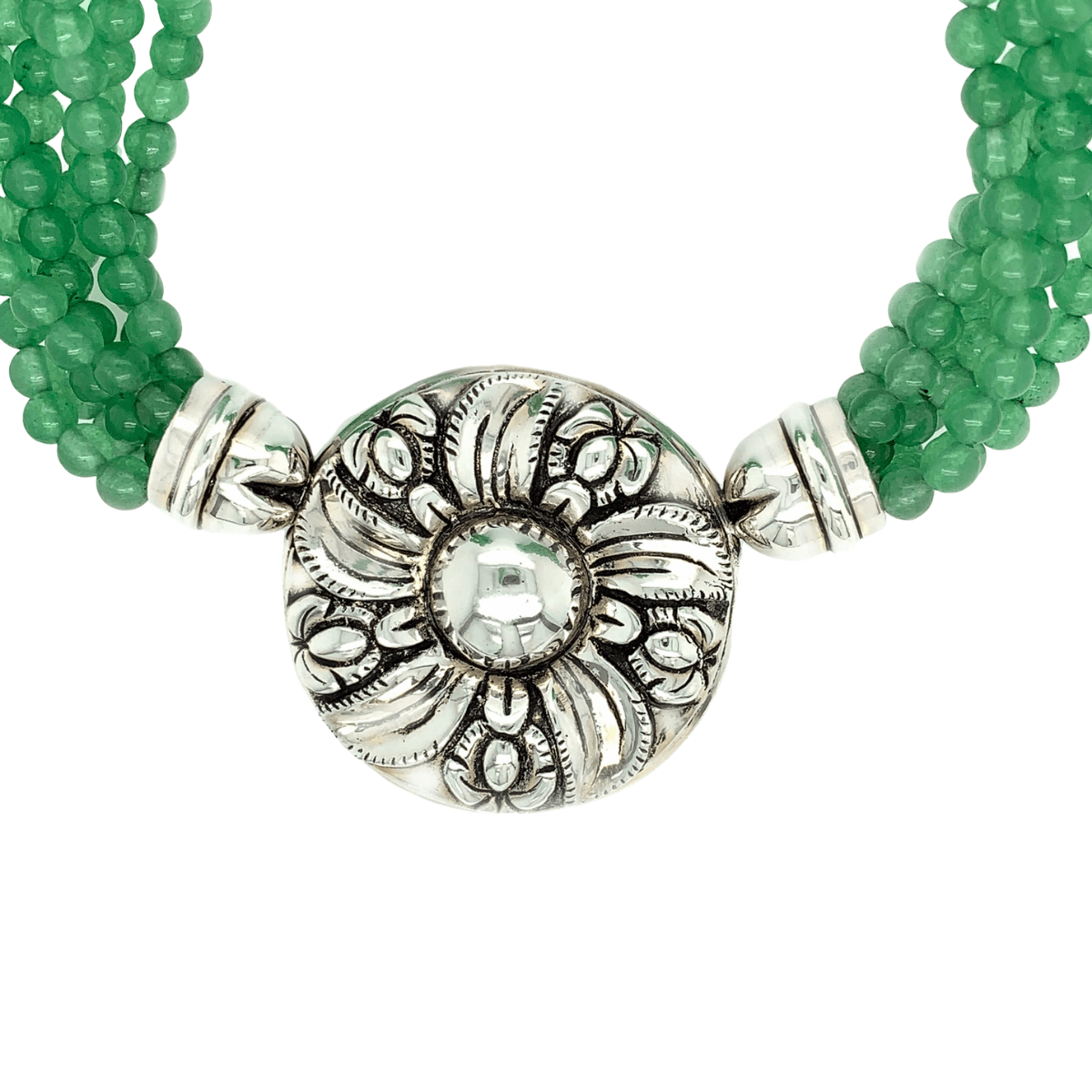 Green Jade Strands & Sterling Silver Colonial Flower Necklace - Qinti - The Peruvian Shop