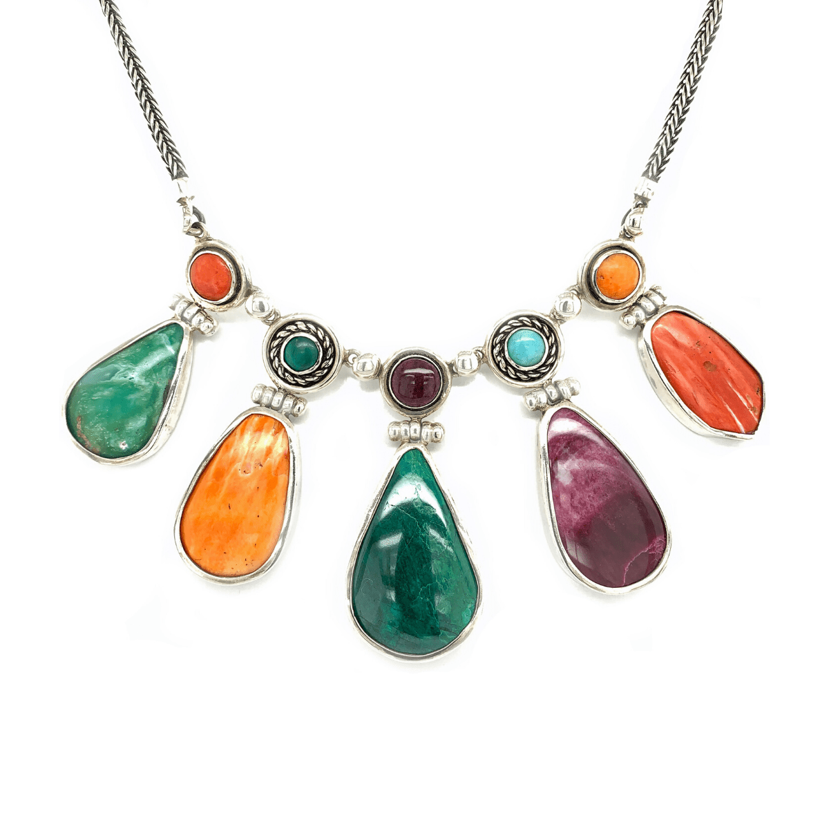 Multi-Colored Natural Gemstones & Sterling Silver Necklace - Qinti - The Peruvian Shop
