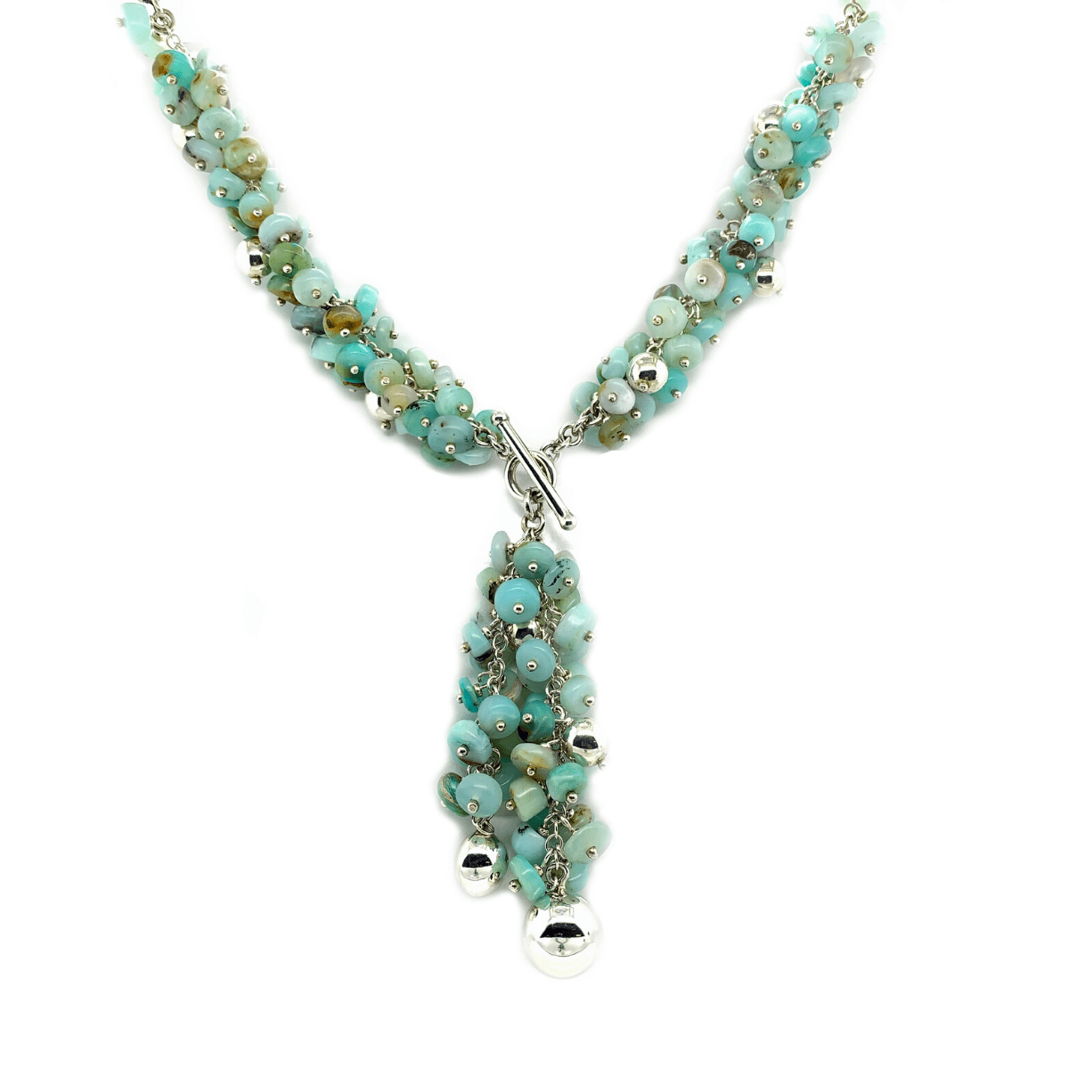 Andean Opal Clusters & Sterling Silver Balls Toggle Necklace - Qinti - The Peruvian Shop