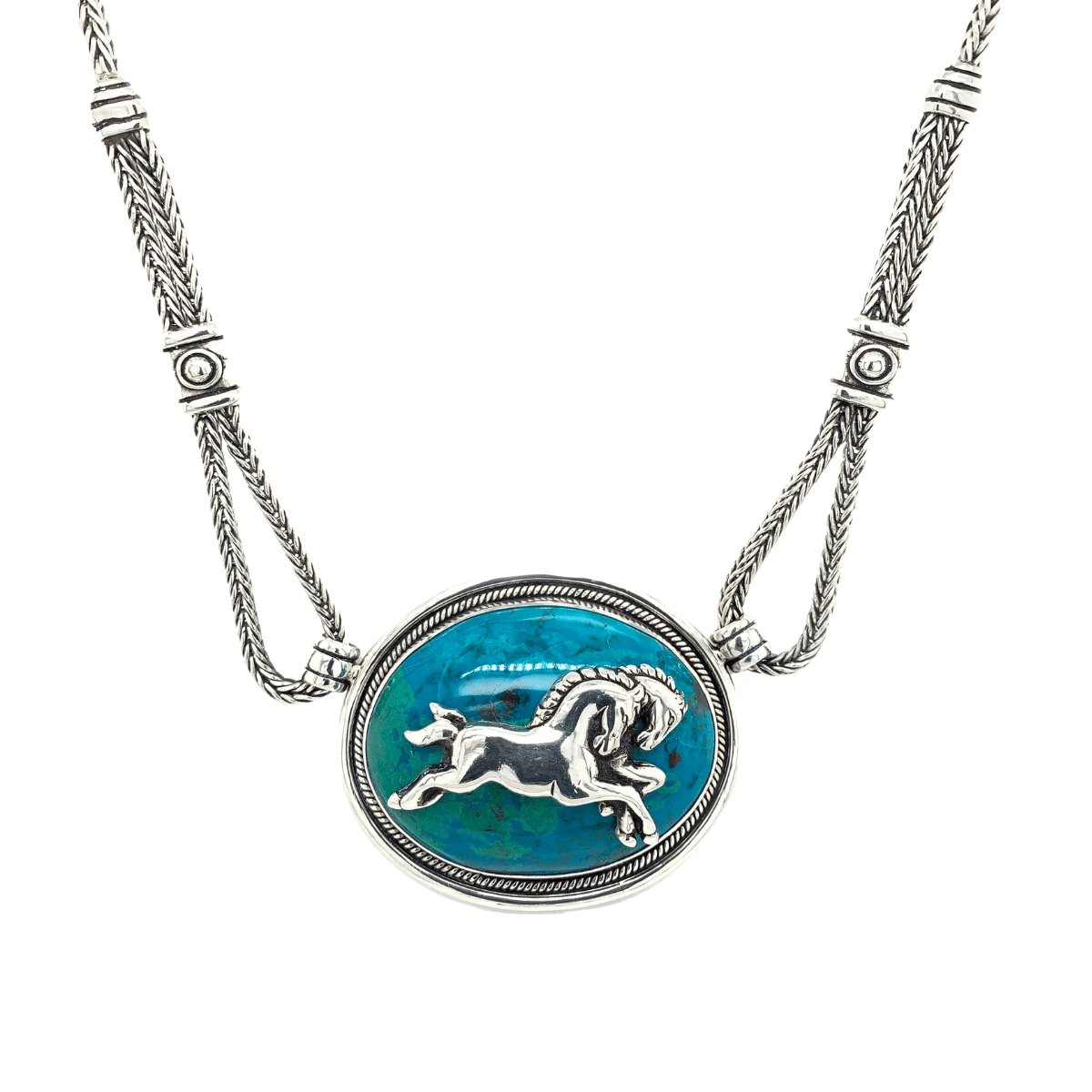 Horses Chrysocolla Medallion & Sterling Silver Necklace - Qinti - The Peruvian Shop