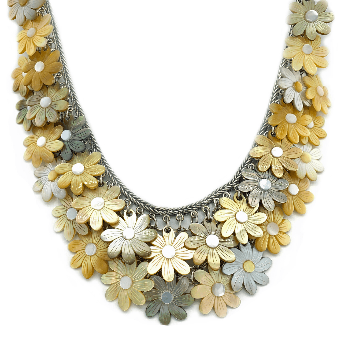 Mother-of-Pearl Daisies & Sterling Silver Mesh Necklace - Qinti - The Peruvian Shop