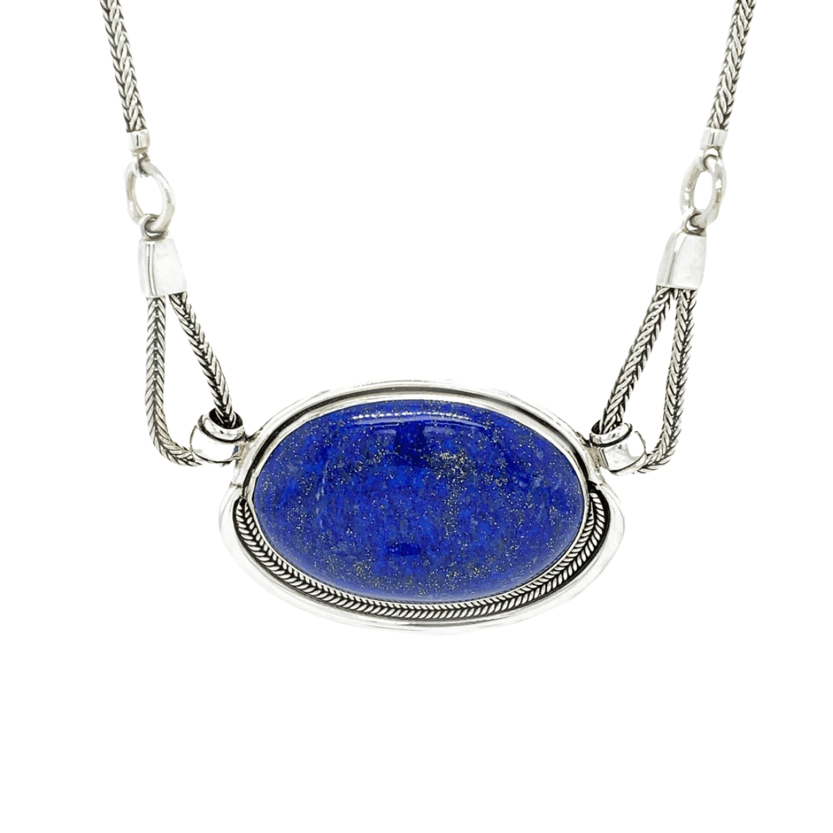 Large Lapis Lazuli Medallion & Sterling Silver Necklace - Qinti - The Peruvian Shop