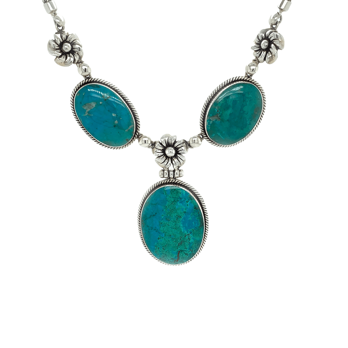 Chrysocolla (Peruvian Turquoise) Ovals & Sterling Silver Necklace - Qinti - The Peruvian Shop