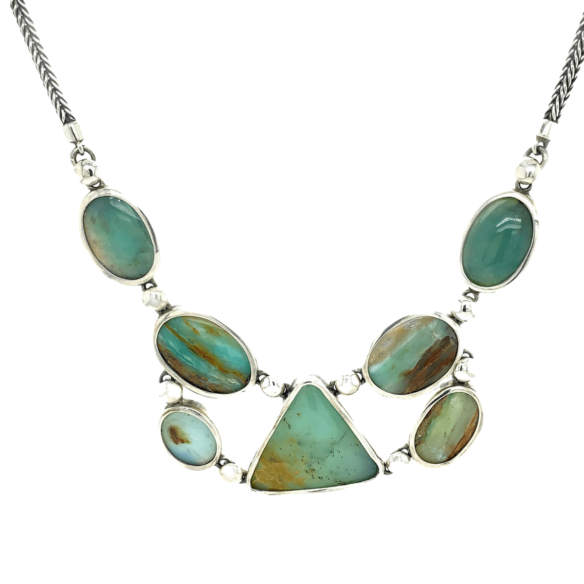 Andean Opal & Sterling Silver Geometric Necklace - Qinti - The Peruvian Shop