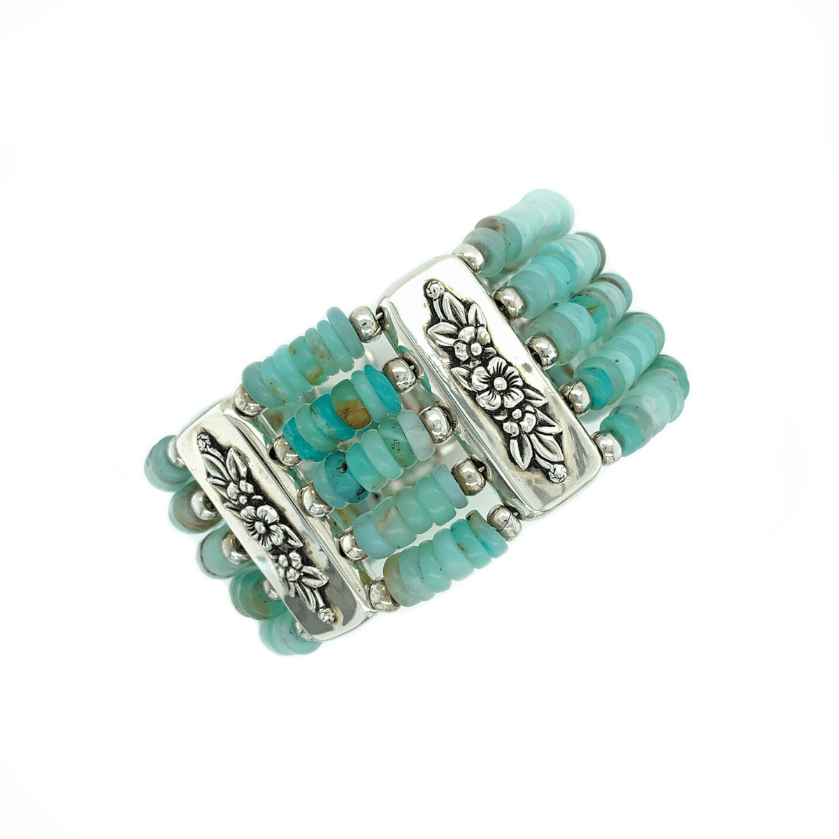 Andean Opal stacked beaded Bracelet Cuff in Sterling Silver - Qinti - The Peruvian Shop