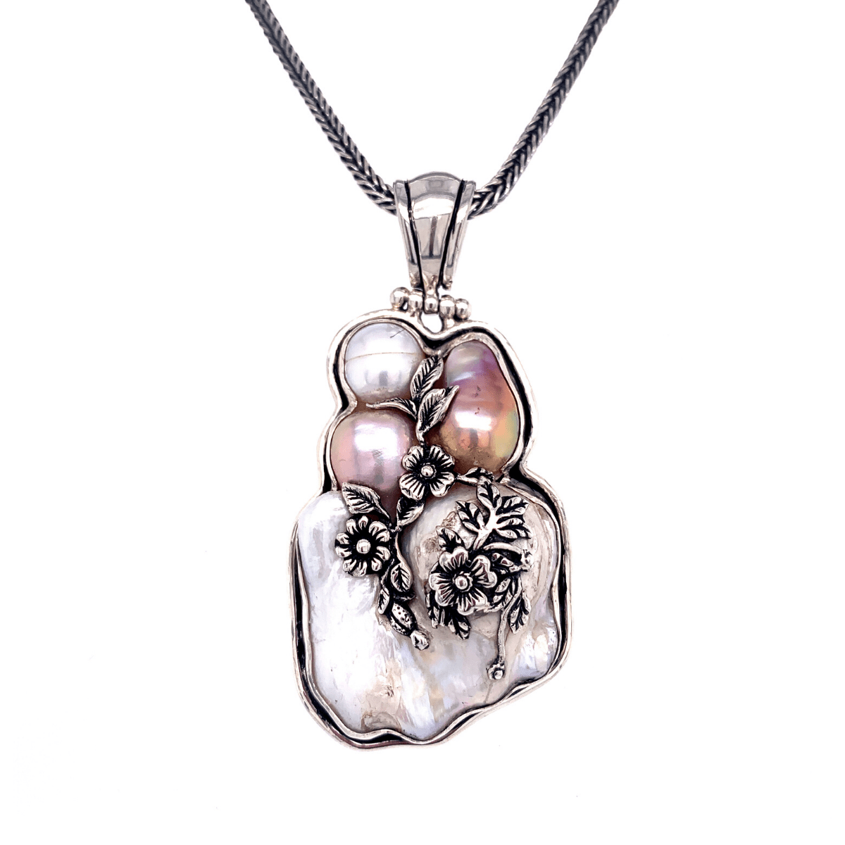 Baroque Freshwater Pearls & Sterling Silver Cluster Pendant - Qinti - The Peruvian Shop