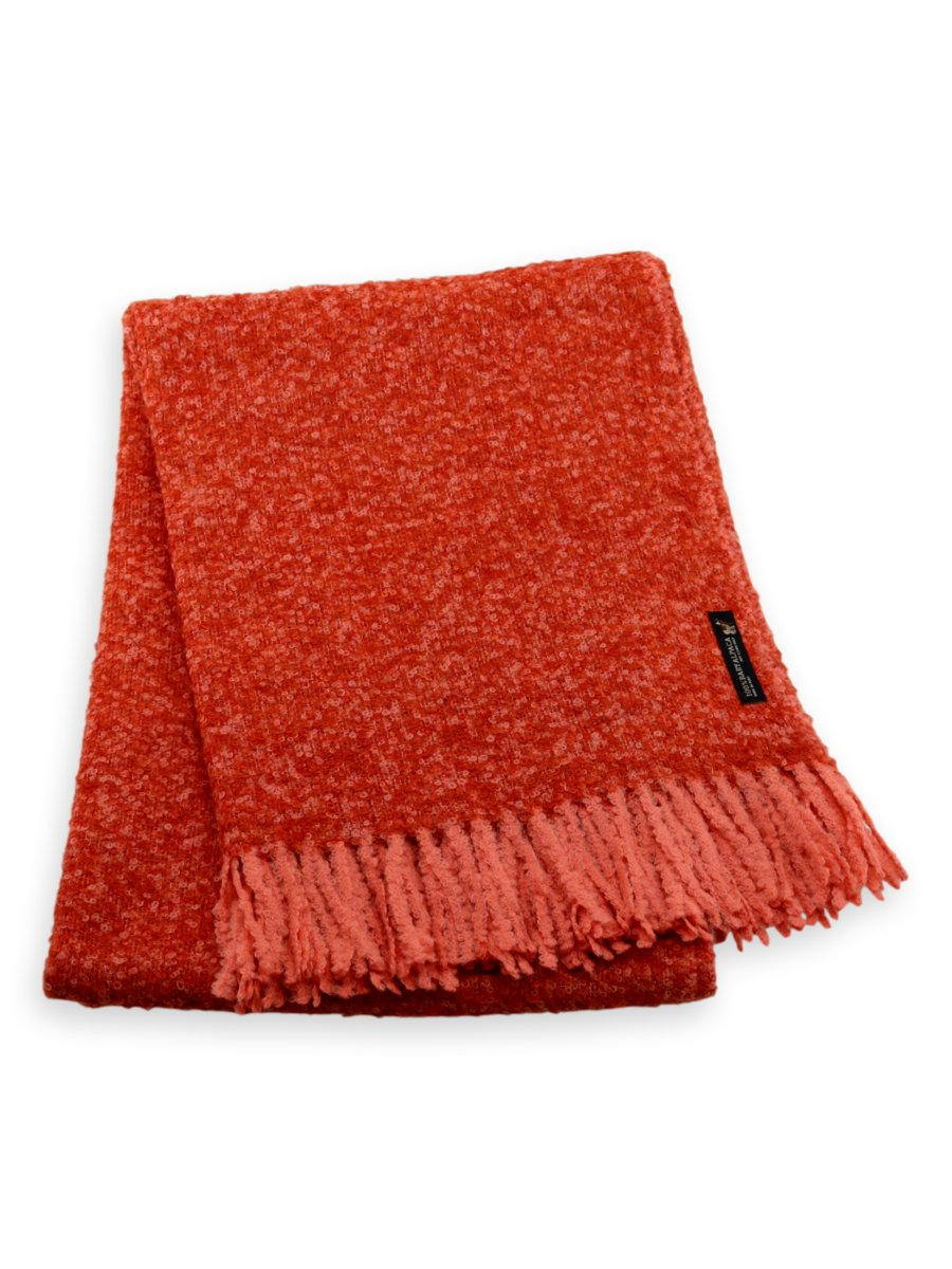 Baby Alpaca Boucle Blanket Throw in Orange/ Coral
