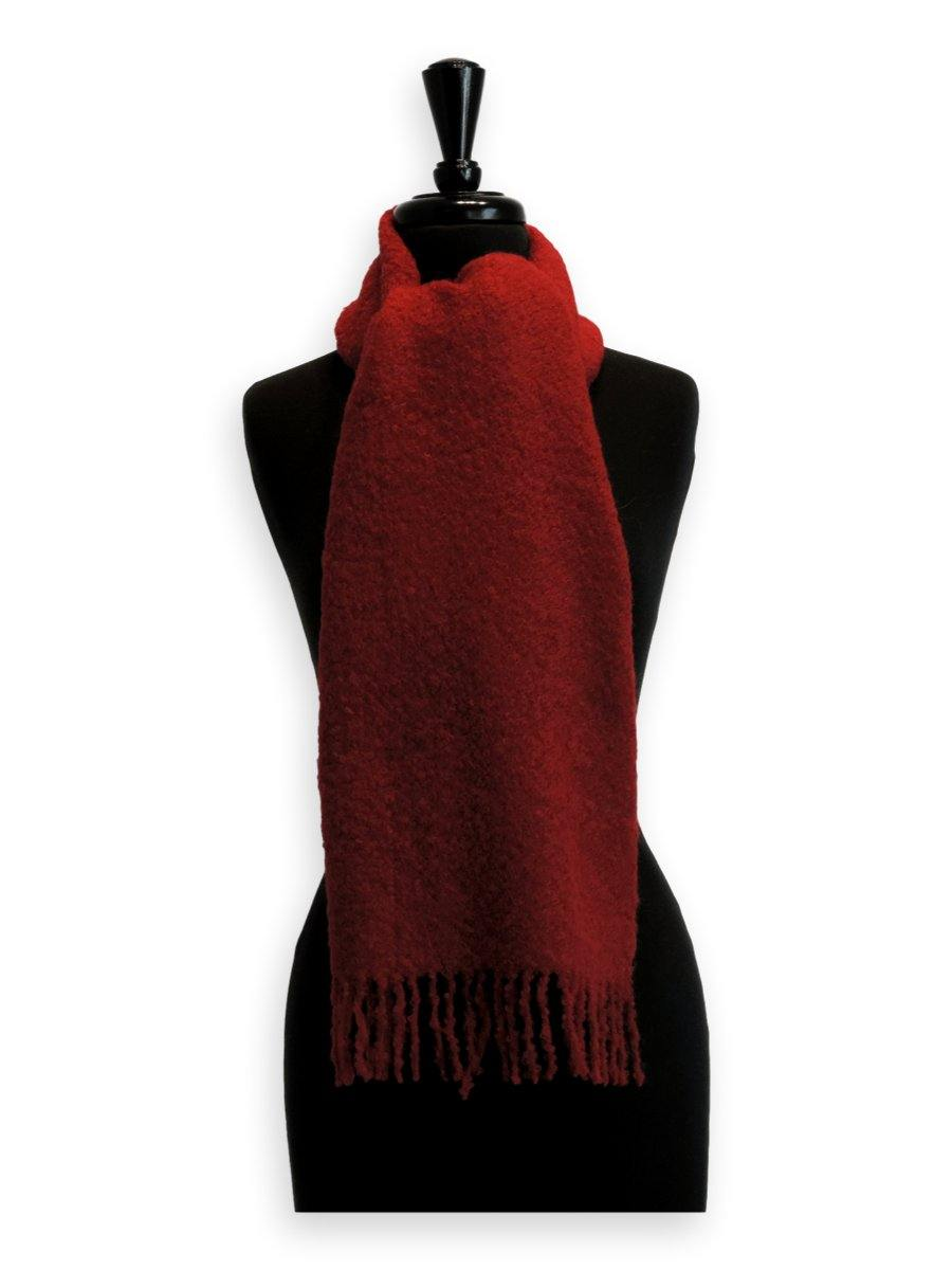 100% Baby Alpaca Boucle Scarf - Ruby Red