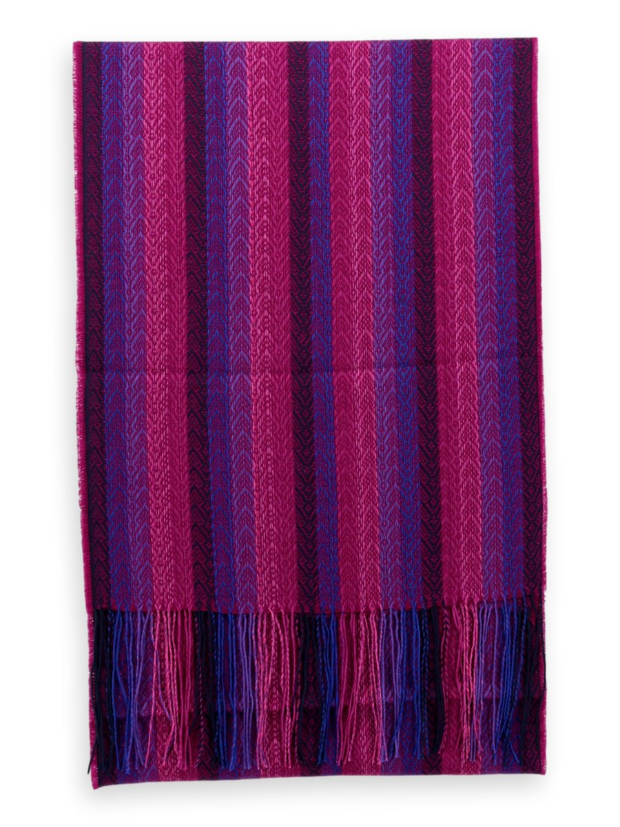 Baby Alpaca Silk Scarf - Purple/ Blue/ Pink Stripes
