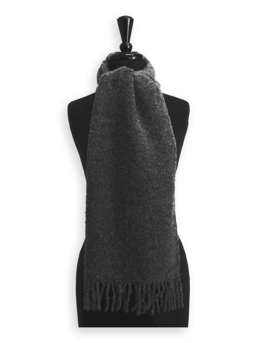 100% Baby Alpaca Boucle Scarf - Medium Grey