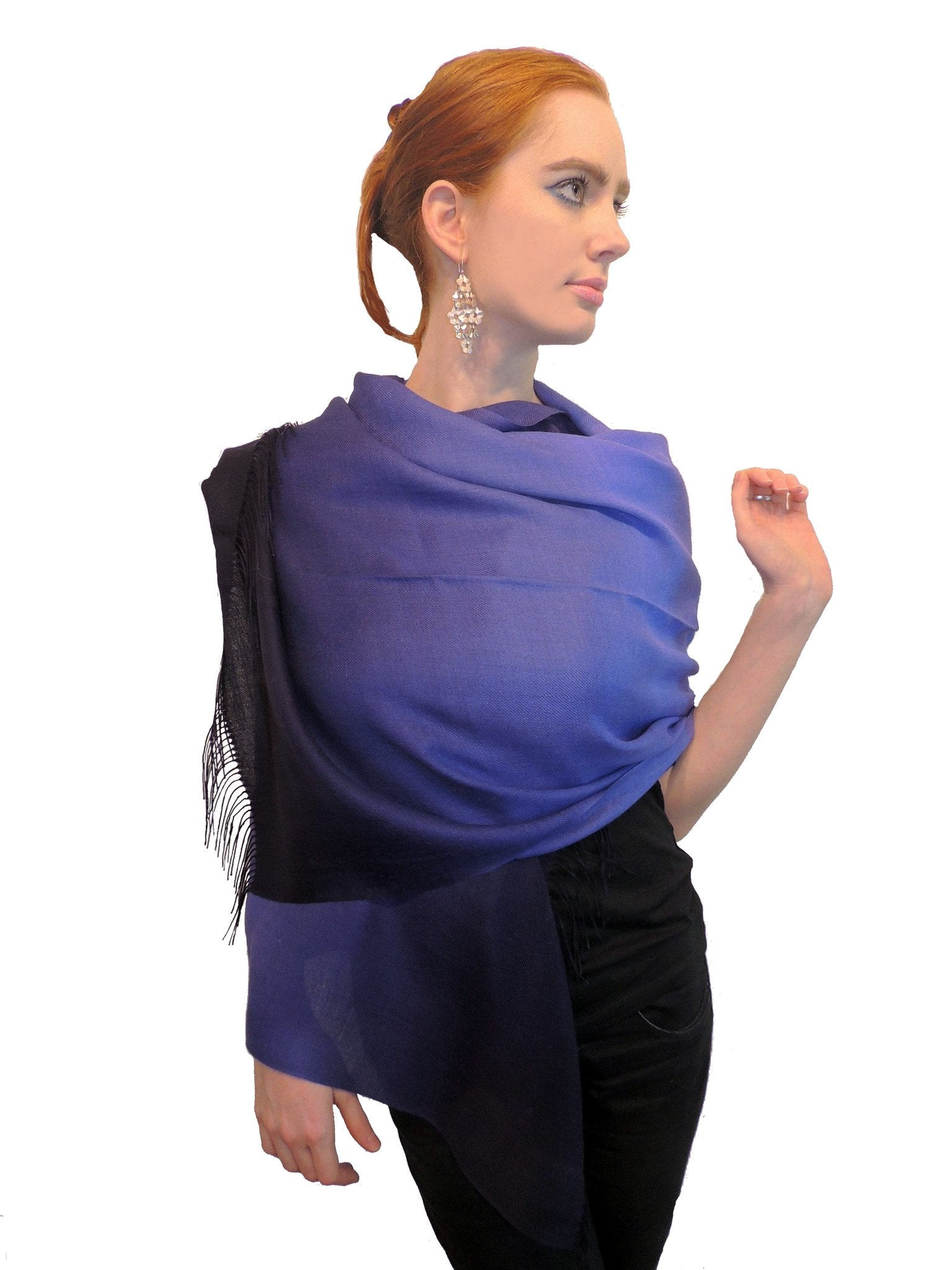 Baby Alpaca & Silk Shawl Two-toned Degrade - Dip Dyed in Periwinkle Blue - Qinti - The Peruvian Shop