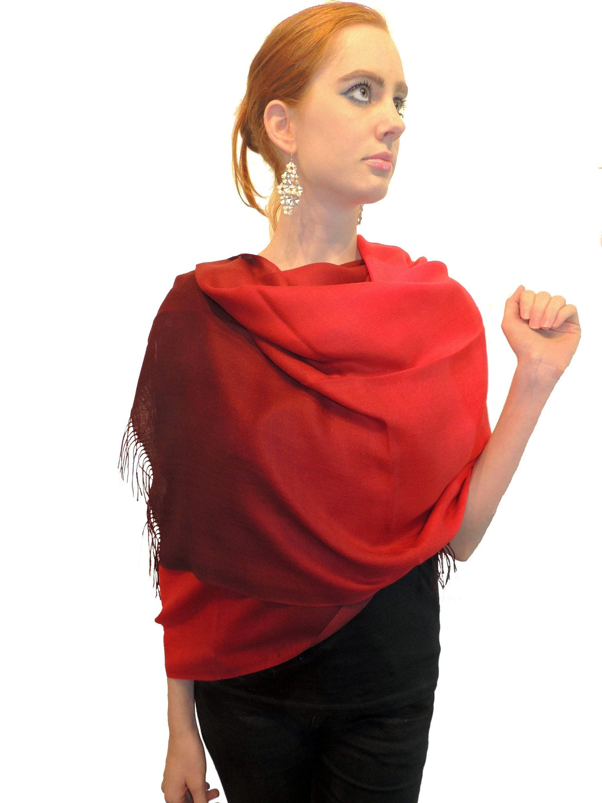 Baby Alpaca Shawl in Silk Blend - Two-Tone Degrade Red - Qinti - The Peruvian Shop