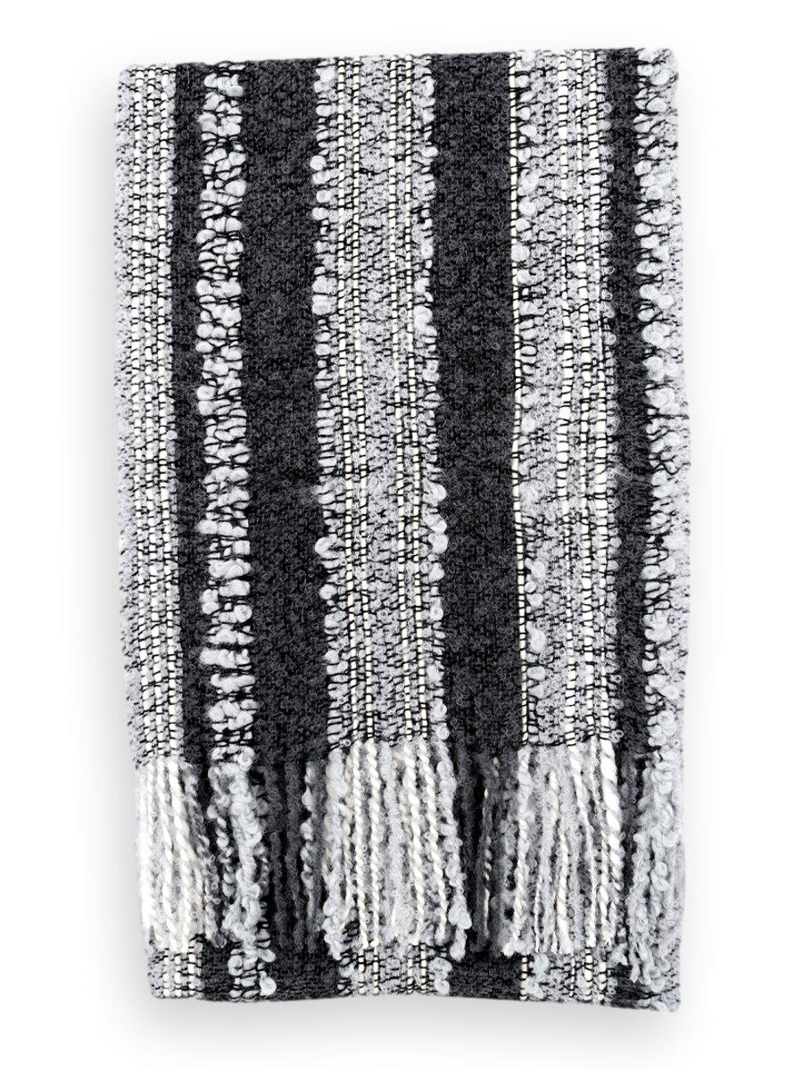 100% Baby Alpaca Boucle Scarf - Charcoal Silver Grey