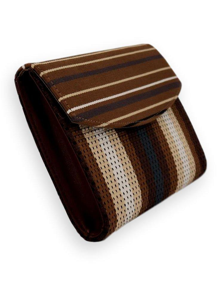 Small Clutch Bag - stripes tobacco/brown/beige/white