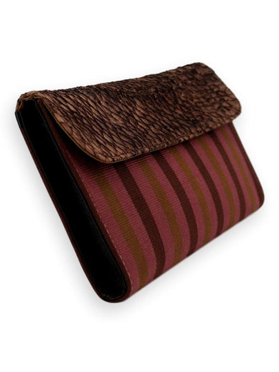 Large Clutch Bag -  Exotic Leather Rose/olive/brown