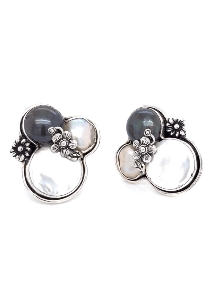 Baroque Pearl Earrings - Caviar & Champagne on Ice in Sterling Silver - Qinti - The Peruvian Shop