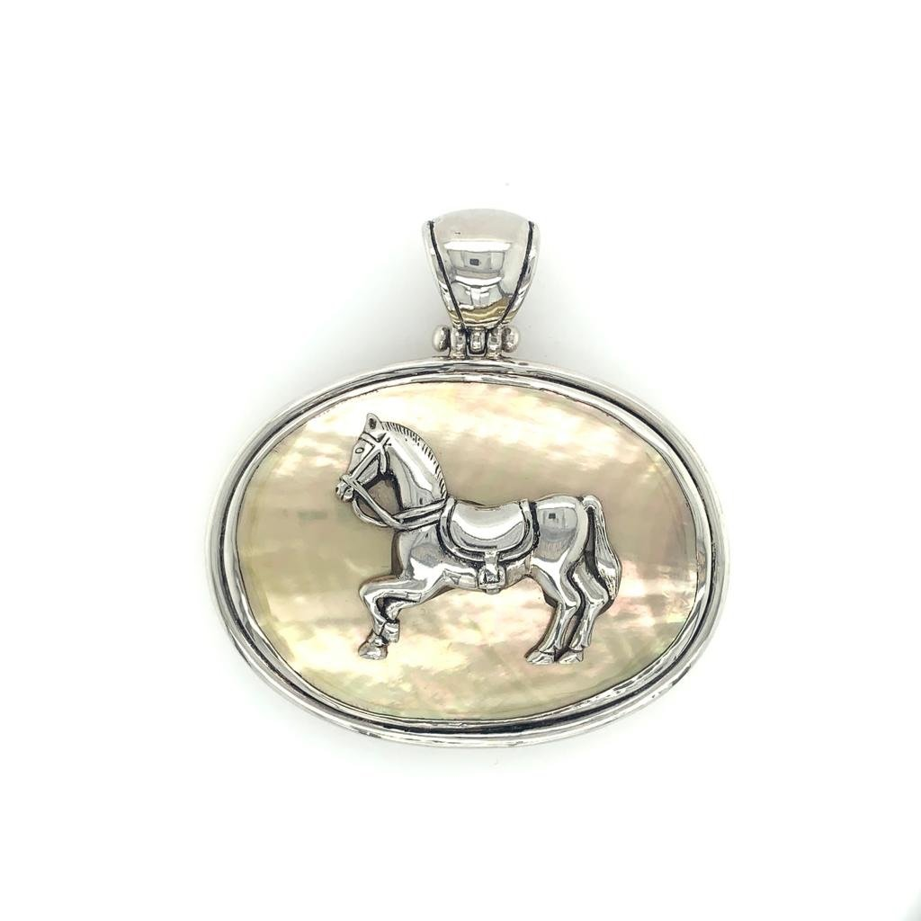 Sterling Silver & Mother of Pearl Horse Pendant - Large - Qinti - The Peruvian Shop