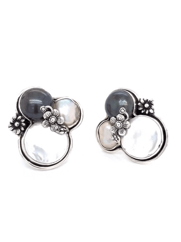 Baroque Pearl Earrings - Caviar & Champagne on Ice in Sterling Silver