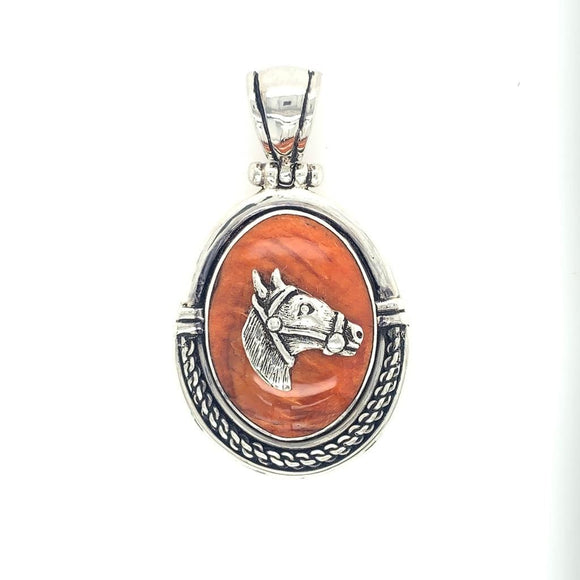 Sterling Silver & Spondylus Horse Pendant with Rope