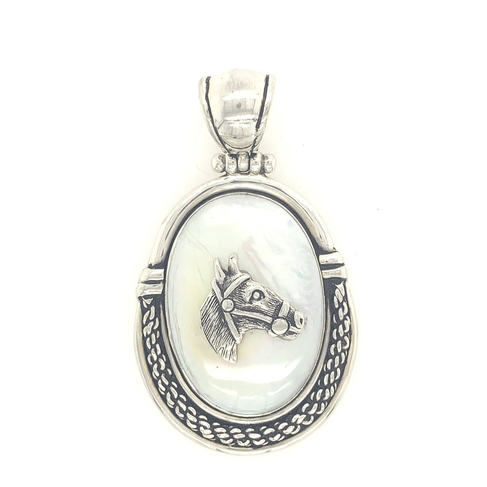 Sterling Silver & Mother-of-Pearl Horse Pendant with Rope - Qinti - The Peruvian Shop
