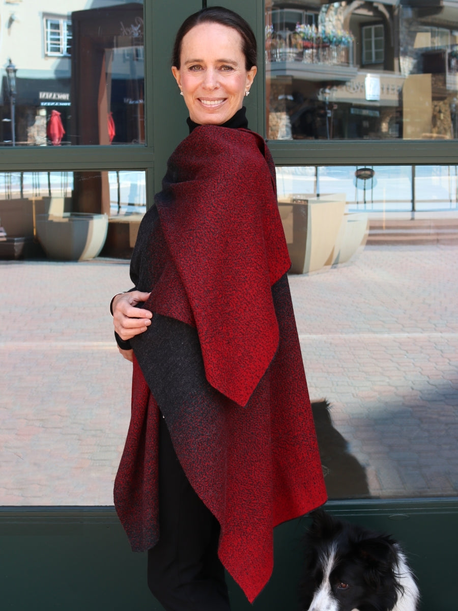 Women's Reversible Poncho/ Wrap - Red & Charcoal