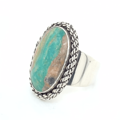 "Large ""Inlet"" Peruvian Opal Ring in 950 Sterling Silver - Qinti - The Peruvian Shop"