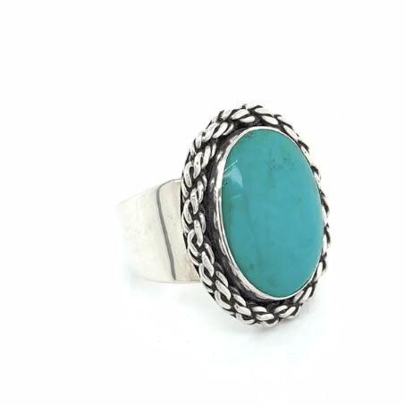 Chrysocolla Chalcedony Ring in Sterling Silver - Adjustable - Qinti - The Peruvian Shop